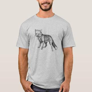 Schwarzweiss-Fox-Bleistift-Art-Grafik T-Shirt