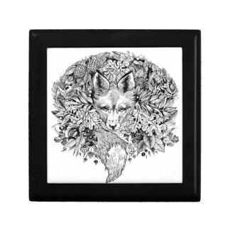 Schwarzweiss-Fuchs im Wald Geschenkbox