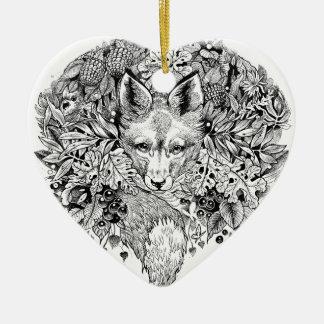 Schwarzweiss-Fuchs im Wald Keramik Herz-Ornament