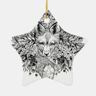 Schwarzweiss-Fuchs im Wald Keramik Stern-Ornament