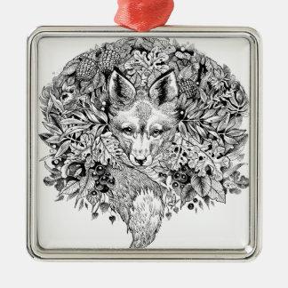 Schwarzweiss-Fuchs im Wald Quadratisches Silberfarbenes Ornament