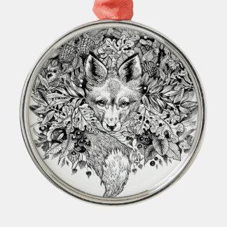 Schwarzweiss-Fuchs im Wald Rundes Silberfarbenes Ornament