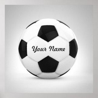 Schwarzweiss-Fußball-Ball-personalisierter Name Poster