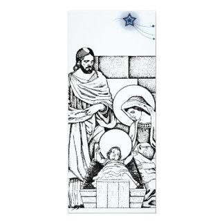 Schwarzweiss-Geburt Christis-Einladung 10,2 X 23,5 Cm Einladungskarte