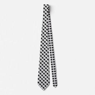 Schwarzweiss-Gingham-Karo-kariertes Muster Krawatte