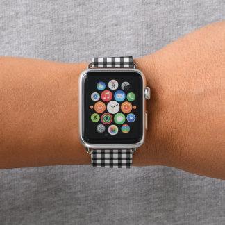 Schwarzweiss-Gingham-Karo-Muster Apple Watch Armband