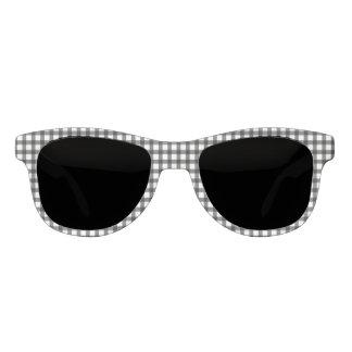 Schwarzweiss-Gingham-Karo-Muster Sonnenbrille