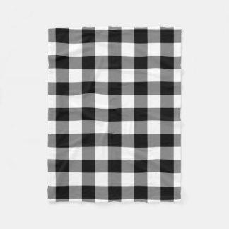 Schwarzweiss-Gingham-Muster-Fleece-Decke