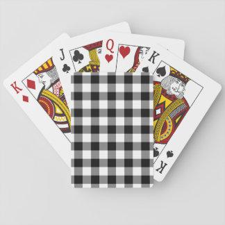 Schwarzweiss-Gingham-Muster Spielkarten