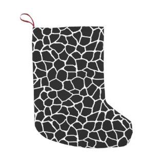Schwarzweiss-Giraffen-Druck-Tier-Muster Kleiner Weihnachtsstrumpf