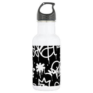 Schwarzweiss-Graffitimuster Trinkflasche
