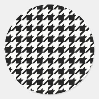 Schwarzweiss-Hahnentrittmuster-Muster Runder Aufkleber