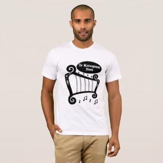Schwarzweiss-Harfen-Monogramm T-Shirt