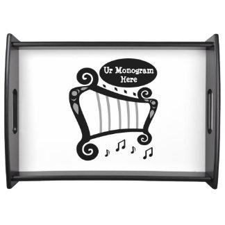 Schwarzweiss-Harfen-Monogramm Tablett