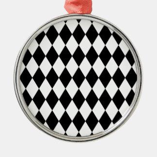 Schwarzweiss-Harlekin-Muster Rundes Silberfarbenes Ornament