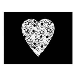Schwarzweiss-Herz. Gemusterter Herz-Entwurf Postkarte