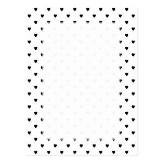 Schwarzweiss-Herz-Muster Postkarte