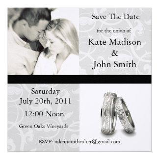 Schwarzweiss-Hochzeit Save the Date Personalisierte Ankündigung