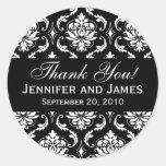 Schwarzweiss-Hochzeits-Damast danken Ihnen zu besc Runder Sticker