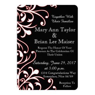 Schwarzweiss-Hochzeits-Einladung mit rotem Akzent Karte