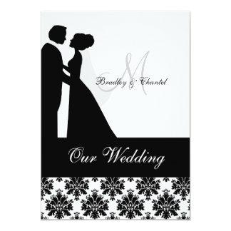 Schwarzweiss-Hochzeits-Paar-Hochzeits-Einladung 12,7 X 17,8 Cm Einladungskarte