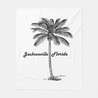 Schwarzweiss-Jacksonville- u. Palmenentwurf Fleecedecke