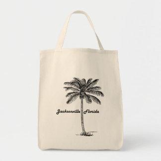 Schwarzweiss-Jacksonville- u. Palmenentwurf Tragetasche