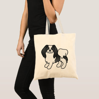 Schwarzweiss-Japanerchin-Cartoon-Hund Tragetasche