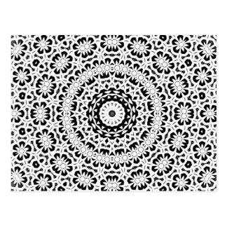 Schwarzweiss-Kaleidoskop-Muster II Postkarte
