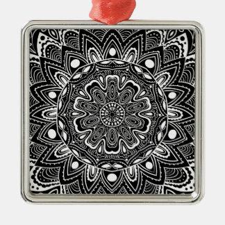 Schwarzweiss-Kaleidoskop Quadratisches Silberfarbenes Ornament