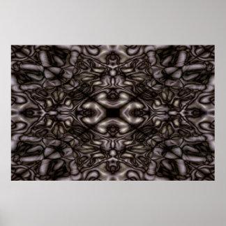 Schwarzweiss-Kaleidoskopmuster Poster