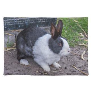 Schwarzweiss-Kaninchen-Tischset Stofftischset