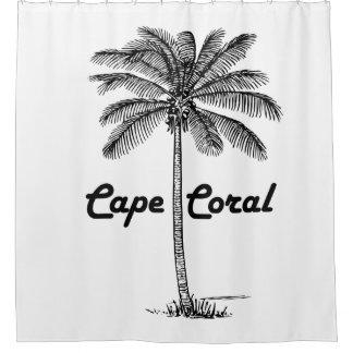 Schwarzweiss-Kap-Korallen- u. Palmenentwurf Duschvorhang