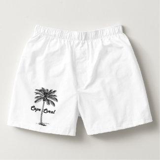 Schwarzweiss-Kap-Korallen- u. Palmenentwurf Herren-Boxershorts