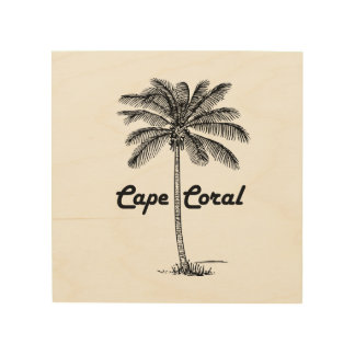 Schwarzweiss-Kap-Korallen- u. Palmenentwurf Holzdruck