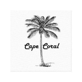 Schwarzweiss-Kap-Korallen- u. Palmenentwurf Leinwanddruck