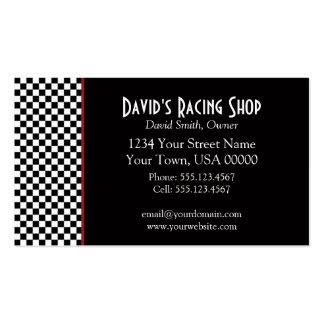 Schwarzweiss-Karo-rote Streifen-Geschäfts-Karte Visitenkarten