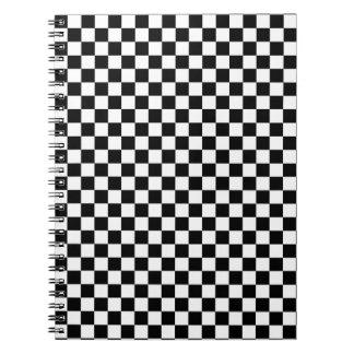Schwarzweiss-Karomuster Spiral Notizblock