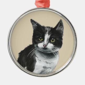 Schwarzweiss-Kätzchen-Zeichnen Rundes Silberfarbenes Ornament