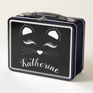 Schwarzweiss-Katzen-Gesicht Metall Brotdose
