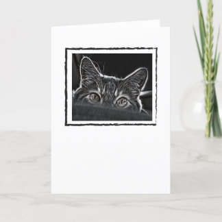 Black and White Cat Greeting Card Blank Inside