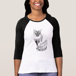 Schwarzweiss-Katzenillustrations-Shirt T-Shirt