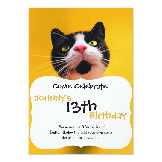 Schwarzweiss-KatzeSmoking Katzehaustier 12,7 X 17,8 Cm Einladungskarte