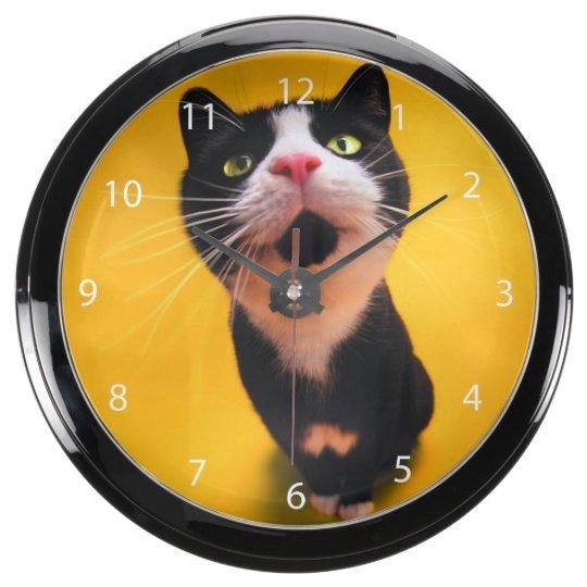 Schwarzweiss-KatzeSmoking Katzehaustier Aqua Uhren