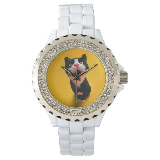 Schwarzweiss-KatzeSmoking Katzehaustier Armbanduhr