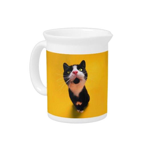 Schwarzweiss-KatzeSmoking Katzehaustier Getränke Pitcher