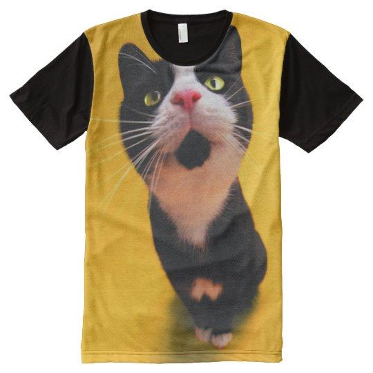 Schwarzweiss-KatzeSmoking Katzehaustier T-Shirt Mit Komplett Bedruckbarer Vorderseite