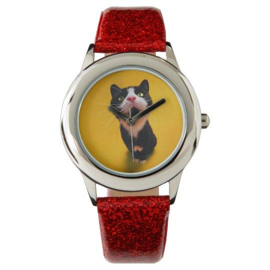 Schwarzweiss-KatzeSmoking Katzehaustier Uhr