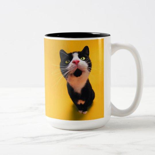 Schwarzweiss-KatzeSmoking Katzehaustier Zweifarbige Tasse
