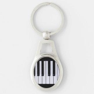 Schwarzweiss-Klavier befestigt Keychain Schlüsselanhänger